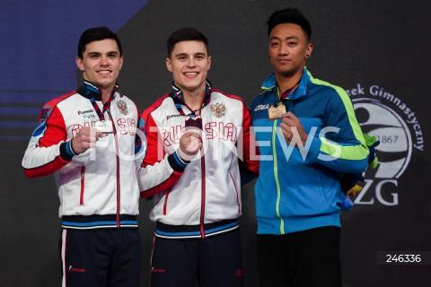 AGENCJA FOTONEWS - 12.04.2019 SZCZECIN8. MISTRZOSTWA EUROPY W GIMNASTYCE SPORTOWEJ KOBIET I MEZCZYZNDZIEN 3 - FINAL WIELOBOJU MEZCZYZN8th European Championships in Artistic GymnasticsDay 3 - Men's All Around FinalN/Z DEKORACJA NIKITA NAGORNYY (RUS) ARTUR DALALOYAN (RUS) MARIOS GEORGIOU (CYP)FOT MATEUSZ SLODKOWSKI / FOTONEWS