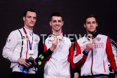 AGENCJA FOTONEWS - 13.04.2019 SZCZECIN8. MISTRZOSTWA EUROPY W GIMNASTYCE SPORTOWEJ KOBIET I MEZCZYZNDZIEN 4 - FINALY NA PRZYRZADACH8th European Championships in Artistic GymnasticsDay 4 - Apparatus FinalsN/Z CYRIL TOMMASONE (FRA) MAX WHITLOCK (GBR) VLADISLAV POLIASHOV (RUS)FOT MATEUSZ SLODKOWSKI / FOTONEWS