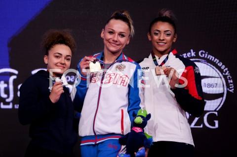 AGENCJA FOTONEWS - 13.04.2019 SZCZECIN8. MISTRZOSTWA EUROPY W GIMNASTYCE SPORTOWEJ KOBIET I MEZCZYZNDZIEN 4 - FINALY NA PRZYRZADACH8th European Championships in Artistic GymnasticsDay 4 - Apparatus FinalsN/Z COLINE DEVILLARD (FRA) MARIA PASEKA (RUS) ELISSA DOWNIE (GBR)FOT MATEUSZ SLODKOWSKI / FOTONEWS