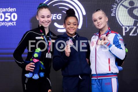 AGENCJA FOTONEWS - 14.04.2019 SZCZECIN8. MISTRZOSTWA EUROPY W GIMNASTYCE SPORTOWEJ KOBIET I MEZCZYZNDZIEN 5 - FINALY NA PRZYRZADACH8th European Championships in Artistic GymnasticsDay 5 - Apparatus FinalsN/Z EYTHORA THORSDOTTIR (NED) MELANIE DE JESUS DOS SANTOS (FRA) ANGELINA MELNIKOVA (RUS)FOT MATEUSZ SLODKOWSKI / FOTONEWS
