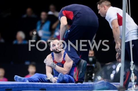 AGENCJA FOTONEWS - 14.04.2019 SZCZECIN8. MISTRZOSTWA EUROPY W GIMNASTYCE SPORTOWEJ KOBIET I MEZCZYZNDZIEN 5 - FINALY NA PRZYRZADACH8th European Championships in Artistic GymnasticsDay 5 - Apparatus FinalsN/Z JAMES HALL (GBR) KONTUZJA INJURYFOT MATEUSZ SLODKOWSKI / FOTONEWS
