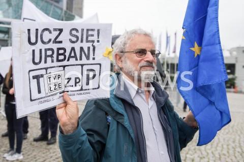 AGENCJA FOTONEWS - 23.05.2019 WARSZAWADEBATA EUROPEJSKA W TVPN/Z PROTESTUJACY PRZECIWKO TVPFOT MAREK KONRAD / FOTONEWS