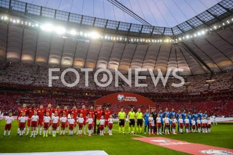 AGENCJA FOTONEWS - 10.06.2019 - WARSZAWAPILKA NOZNA - KWALIFIKACJE UEFA EURO 2020FOOTBALL UEFA EURO 2020 QUALIFIERSMECZ POLSKA (POLAND) - IZRAEL (ISRAEL)N/Z REPREZENTACJA POLSKI I IZRAELA PODCZAS HYMNOWFOT MATEUSZ SLODKOWSKI / FOTONEWS
