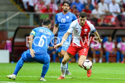 AGENCJA FOTONEWS - 10.06.2019 - WARSZAWAPILKA NOZNA - KWALIFIKACJE UEFA EURO 2020FOOTBALL UEFA EURO 2020 QUALIFIERSMECZ POLSKA (POLAND) - IZRAEL (ISRAEL)N/Z BIBRAS NATCHO OMRI BEN HARUSH ROBERT LEWANDOWSKIFOT MATEUSZ SLODKOWSKI / FOTONEWS