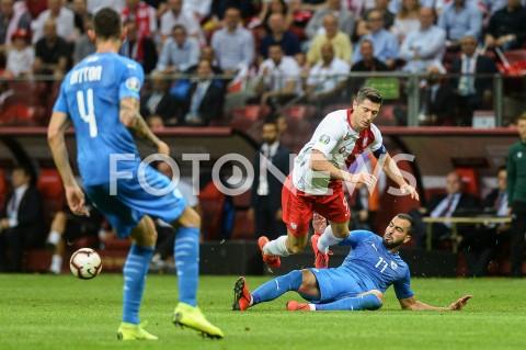 AGENCJA FOTONEWS - 10.06.2019 - WARSZAWAPILKA NOZNA - KWALIFIKACJE UEFA EURO 2020FOOTBALL UEFA EURO 2020 QUALIFIERSMECZ POLSKA (POLAND) - IZRAEL (ISRAEL)N/Z ROBERT LEWANDOWSKI LOAI TAHAFOT MATEUSZ SLODKOWSKI / FOTONEWS