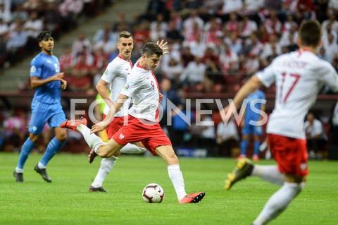 AGENCJA FOTONEWS - 10.06.2019 - WARSZAWAPILKA NOZNA - KWALIFIKACJE UEFA EURO 2020FOOTBALL UEFA EURO 2020 QUALIFIERSMECZ POLSKA (POLAND) - IZRAEL (ISRAEL)N/Z ROBERT LEWANDOWSKI SYLWETKA STRZALFOT MATEUSZ SLODKOWSKI / FOTONEWS