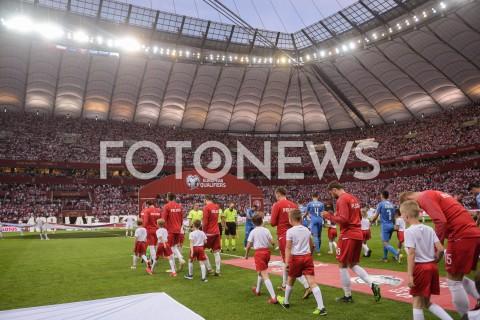 AGENCJA FOTONEWS - 10.06.2019 - WARSZAWAPILKA NOZNA - KWALIFIKACJE UEFA EURO 2020FOOTBALL UEFA EURO 2020 QUALIFIERSMECZ POLSKA (POLAND) - IZRAEL (ISRAEL)N/Z PILKARZE WYCHODZACY NA MURAWE PRZED MECZEMFOT MATEUSZ SLODKOWSKI / FOTONEWS
