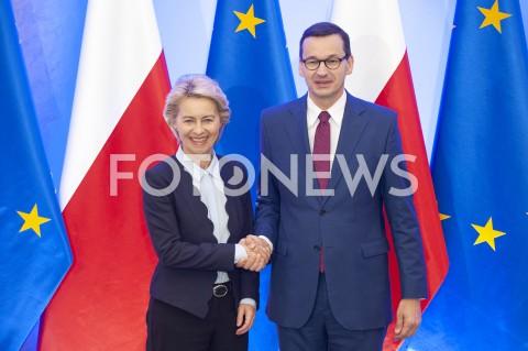 Spotkanie premiera Mateusza Morawieckiego z szefową Komisji Europejskiej Ursula von der Leyen w Warszawie