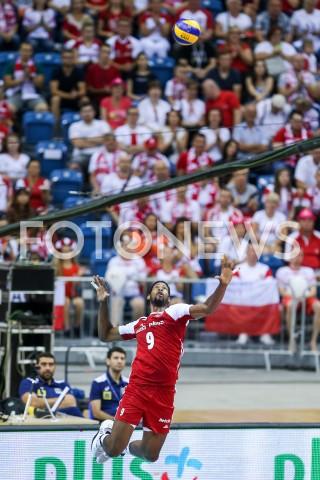 AGENCJA FOTONEWS - 02.08.2019 KRAKOW (TAURON ARENA) XVII MEMORIAL HUBERTA JERZEGO WAGNERA MECZ POLSKA - BRAZYLIA ( MATCH POLAND - BRAZIL ) N/Z WILFREDO LEON SYLWETKA ZAGRYWKA ATAK FOT MACIEJ GOCLON / FOTONEWS