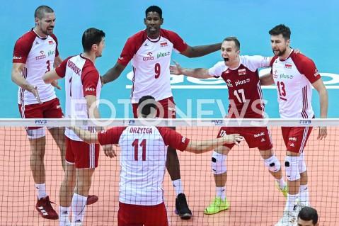 AGENCJA FOTONEWS - 09.08.2019 GDANSKSIATKOWKA - TURNIEJ KWALIFIKACYJNY FIVB DO IGRZYSK OLIMPIJSKICH TOKIO 2020MECZ POLSKA - TUNEZJAVolleyball - Olympic Games FIVB Qualifiers Tournament Pool DPoland - TunisiaN/Z WILFREDO LEON PAWEL ZATORSKI MICHAL KUBIAK DAWID KONARSKI PIOTR NOWAKOWSKI EMOCJE RADOSCFOT MATEUSZ SLODKOWSKI / FOTONEWS