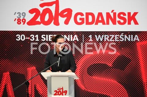AGENCJA FOTONEWS - 31.08.2019 GDANSKOBCHODY 39. ROCZNICY POROZUMIEN SIERPNIOWYCH W GDANSKUCEREMONIA WRECZENIA MEDALI WDZIECZNOSCI W EUROPEJSKIM CENTRUM SOLIDARNOSCIN/Z ALEKSANDRA DULKIEWICZFOT MATEUSZ SLODKOWSKI / FOTONEWS