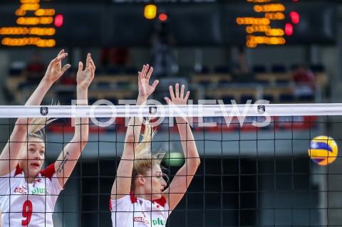 AGENCJA FOTONEWS - 01.09.2019 LODZ ( POLAND )SIATKOWKA KOBIET MISTRZOSTWA EUROPY KOBIET CEV EUROVOLLEY 2019 WOMEN EUROPEAN CHAMPIONSHIP1/8 FINALU MECZ POLSKA - HISZPANIA ( Poland - Spain ) N/Z MAGDALENA STYSIAK KLAUDIA ALAGIERSKA BLOKFOT ARTUR MARCINKOWSKI / FOTONEWS