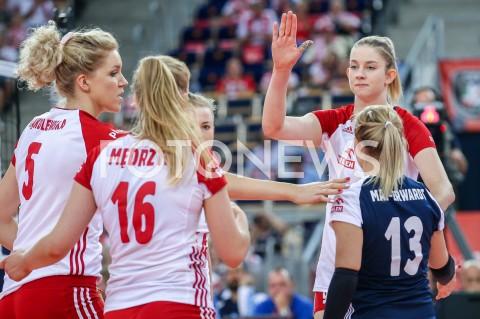 AGENCJA FOTONEWS - 01.09.2019 LODZ ( POLAND )SIATKOWKA KOBIET MISTRZOSTWA EUROPY KOBIET CEV EUROVOLLEY 2019 WOMEN EUROPEAN CHAMPIONSHIP1/8 FINALU MECZ POLSKA - HISZPANIA ( Poland - Spain ) N/Z MAGDALENA STYSIAK AGNIESZKA KAKOLEWSKA SYLWETKAFOT ARTUR MARCINKOWSKI / FOTONEWS