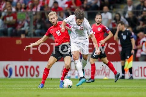 AGENCJA FOTONEWS - 09.09.2019 - WARSZAWAPILKA NOZNA - KWALIFIKACJE UEFA EURO 2020FOOTBALL UEFA EURO 2020 QUALIFIERSMECZ POLSKA (POLAND) - AUSTRIA (AUSTRIA)N/Z MARCEL SABITZER GRZEGORZ KRYCHOWIAK FOT DAREK NOWAK / FOTONEWS