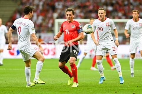 AGENCJA FOTONEWS - 09.09.2019 - WARSZAWAPILKA NOZNA - KWALIFIKACJE UEFA EURO 2020FOOTBALL UEFA EURO 2020 QUALIFIERSMECZ POLSKA (POLAND) - AUSTRIA (AUSTRIA)N/Z ROBERT LEWANDOWSKI JULIAN BAUMGARTLINGER PIOTR ZIELINSKIFOT MATEUSZ SLODKOWSKI / FOTONEWS