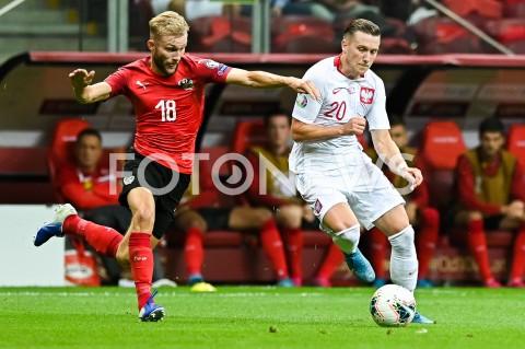 AGENCJA FOTONEWS - 09.09.2019 - WARSZAWAPILKA NOZNA - KWALIFIKACJE UEFA EURO 2020FOOTBALL UEFA EURO 2020 QUALIFIERSMECZ POLSKA (POLAND) - AUSTRIA (AUSTRIA)N/Z KONRAD LAIMER PIOTR ZIELINSKIFOT MATEUSZ SLODKOWSKI / FOTONEWS