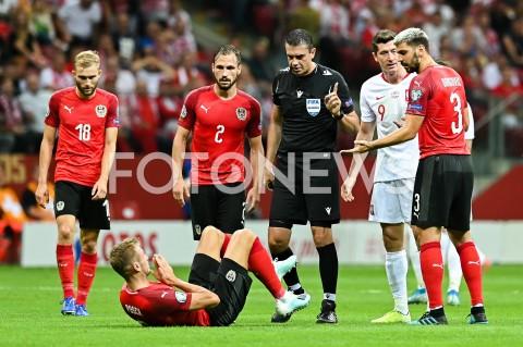 AGENCJA FOTONEWS - 09.09.2019 - WARSZAWAPILKA NOZNA - KWALIFIKACJE UEFA EURO 2020FOOTBALL UEFA EURO 2020 QUALIFIERSMECZ POLSKA (POLAND) - AUSTRIA (AUSTRIA)N/Z ROBERT LEWANDOWSKI FAUL EMOCJE ANDREAS ULMER ALEKSANDAR DRAGOVICFOT MATEUSZ SLODKOWSKI / FOTONEWS