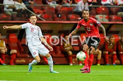 AGENCJA FOTONEWS - 09.09.2019 - WARSZAWAPILKA NOZNA - KWALIFIKACJE UEFA EURO 2020FOOTBALL UEFA EURO 2020 QUALIFIERSMECZ POLSKA (POLAND) - AUSTRIA (AUSTRIA)N/Z SEBASTIAN SZYMANSKI VALENTINO LAZAROFOT MATEUSZ SLODKOWSKI / FOTONEWS