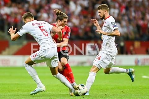 AGENCJA FOTONEWS - 09.09.2019 - WARSZAWAPILKA NOZNA - KWALIFIKACJE UEFA EURO 2020FOOTBALL UEFA EURO 2020 QUALIFIERSMECZ POLSKA (POLAND) - AUSTRIA (AUSTRIA)N/Z JAN BEDNAREK MARCEL SABITZER MATEUSZ KLICH FAULFOT MATEUSZ SLODKOWSKI / FOTONEWS