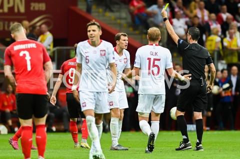 AGENCJA FOTONEWS - 09.09.2019 - WARSZAWAPILKA NOZNA - KWALIFIKACJE UEFA EURO 2020FOOTBALL UEFA EURO 2020 QUALIFIERSMECZ POLSKA (POLAND) - AUSTRIA (AUSTRIA)N/Z KRYSTIAN BIELIK EMOCJE ZOLTA KARTKAFOT MATEUSZ SLODKOWSKI / FOTONEWS