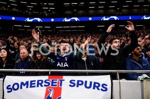AGENCJA FOTONEWS - 01.10.2019 - LONDYNPILKA NOZNA - MECZ FAZY GRUPOWEJ LIGI MISTRZOWTOTTENHAM HOTSPUR - BAYERN MONACHIUMFootball - Champions League Group B match(Tottenham Hotspur - Bayern Munich)N/Z KIBICE TOTTENHAMUFOT MATEUSZ SLODKOWSKI / FOTONEWS
