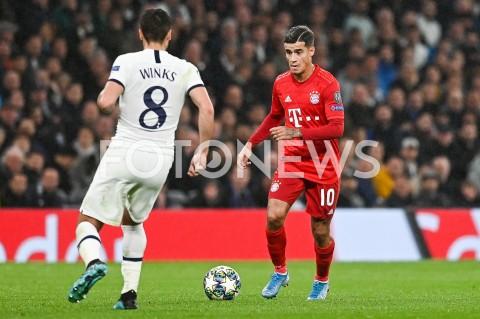 AGENCJA FOTONEWS - 01.10.2019 - LONDYNPILKA NOZNA - MECZ FAZY GRUPOWEJ LIGI MISTRZOWTOTTENHAM HOTSPUR - BAYERN MONACHIUMFootball - Champions League Group B match(Tottenham Hotspur - Bayern Munich)N/Z PHILIPPE COUTINHO SYLWETKAFOT MATEUSZ SLODKOWSKI / FOTONEWS