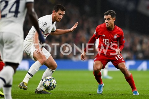 AGENCJA FOTONEWS - 01.10.2019 - LONDYNPILKA NOZNA - MECZ FAZY GRUPOWEJ LIGI MISTRZOWTOTTENHAM HOTSPUR - BAYERN MONACHIUMFootball - Champions League Group B match(Tottenham Hotspur - Bayern Munich)N/Z JAN VERTONGHEN PHILIPPE COUTINHOFOT MATEUSZ SLODKOWSKI / FOTONEWS