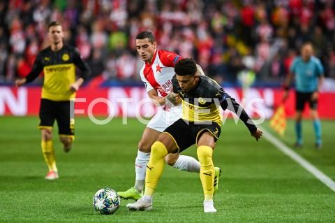 AGENCJA FOTONEWS - 02.10.2019 - PRAGAPILKA NOZNA - MECZ FAZY GRUPOWEJ LIGI MISTRZOWSLAVIA PRAGA - BORUSSIA DORTMUNDFootball - Champions League Group F match(Slavia Prague - Borussia Dortmund)N/Z NICOLAE STANCIU JADON SANCHOFOT MATEUSZ SLODKOWSKI / FOTONEWS