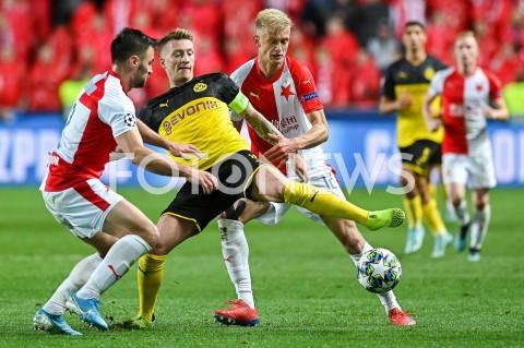 AGENCJA FOTONEWS - 02.10.2019 - PRAGAPILKA NOZNA - MECZ FAZY GRUPOWEJ LIGI MISTRZOWSLAVIA PRAGA - BORUSSIA DORTMUNDFootball - Champions League Group F match(Slavia Prague - Borussia Dortmund)N/Z DAVID HOROVKA MARCO REUS JAROSLAV ZELENYFOT MATEUSZ SLODKOWSKI / FOTONEWS