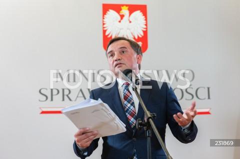 Konferencja ministra sprawiedliwości prokuratora generalnego Zbigniewa Ziobro w Warszawie