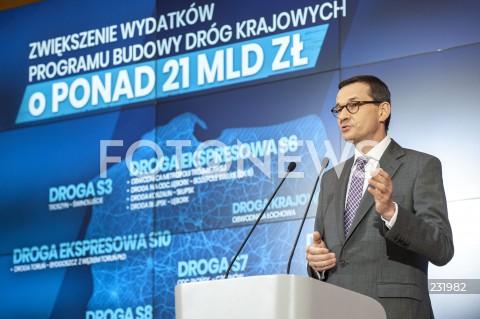 Konferencja premiera Mateusza Morawieckiego nt. budowy dróg w Warszawie