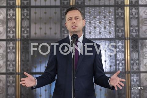 Konferencja prasowa prezesa PSL Władysława Kosiniaka-Kamysza w Warszawie