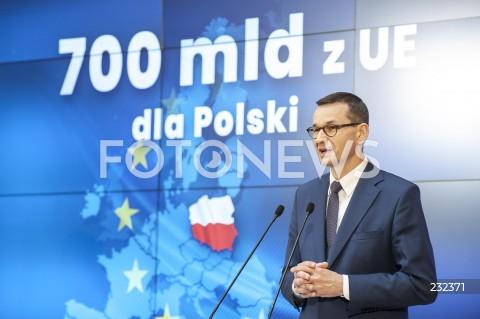 Konferencja prasowa premiera Mateusza Morawieckiego podsumowująca szczyt Rady Europejskiej w Warszawie