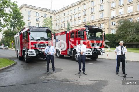 Konferencja kierownictwa MSWiA nt. sfinansowania wozów strażackich gminom o największej frekwencji wyborczej w Warszawie