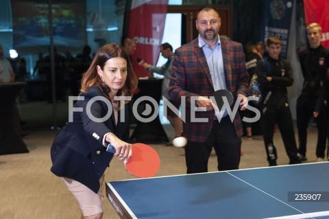 Konferencja z udziałem minister sportu Danuty Dmowskiej-Andrzejuk dot. mistrzostw Europy w tenisie stołowym w Warszawie