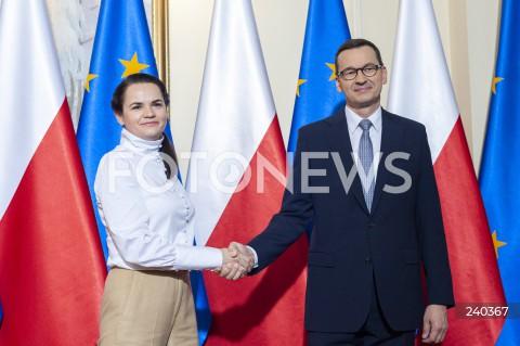 Spotkanie premiera Mateusza Morawieckiego ze Swiatłaną Cichanouską w Warszawie