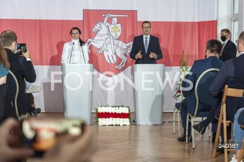 Spotkanie premiera Mateusza Morawieckiego i Swiatłany Cichanouskiej z mniejszością białoruską w Warszawie
