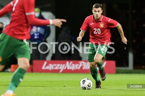 13.10.2020 GDYNIA<br />PILKA NOZNA - KWALIFIKACJE DO MISTRZOSTW EUROPY U-21<br />POLSKA - BULGARIA<br />Football - U-21 European Championships 2021 Qualifiers<br />Poland - Bulgaria<br />N/Z DOMINIC YANKOV SYLWETKA<br />