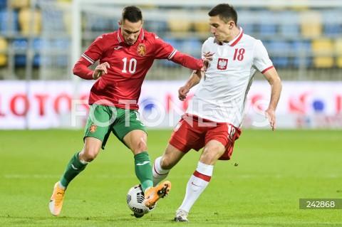 13.10.2020 GDYNIA<br />PILKA NOZNA - KWALIFIKACJE DO MISTRZOSTW EUROPY U-21<br />POLSKA - BULGARIA<br />Football - U-21 European Championships 2021 Qualifiers<br />Poland - Bulgaria<br />N/Z STANISLAV IVANOV BARTOSZ SLISZ<br />