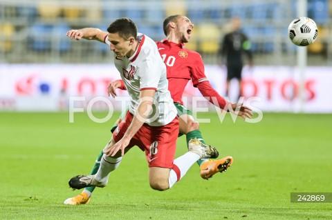 13.10.2020 GDYNIA<br />PILKA NOZNA - KWALIFIKACJE DO MISTRZOSTW EUROPY U-21<br />POLSKA - BULGARIA<br />Football - U-21 European Championships 2021 Qualifiers<br />Poland - Bulgaria<br />N/Z BARTOSZ SLISZ STANISLAV IVANOV<br />