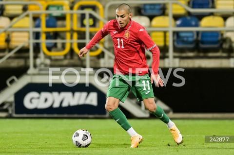 13.10.2020 GDYNIA<br />PILKA NOZNA - KWALIFIKACJE DO MISTRZOSTW EUROPY U-21<br />POLSKA - BULGARIA<br />Football - U-21 European Championships 2021 Qualifiers<br />Poland - Bulgaria<br />N/Z ZDRAVKO DIMITROV SYLWETKA<br />