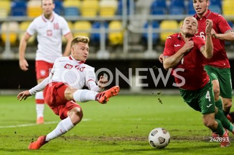 13.10.2020 GDYNIA<br />PILKA NOZNA - KWALIFIKACJE DO MISTRZOSTW EUROPY U-21<br />POLSKA - BULGARIA<br />Football - U-21 European Championships 2021 Qualifiers<br />Poland - Bulgaria<br />N/Z BARTOSZ BIDA STRZAL BRAMKA GOL<br />