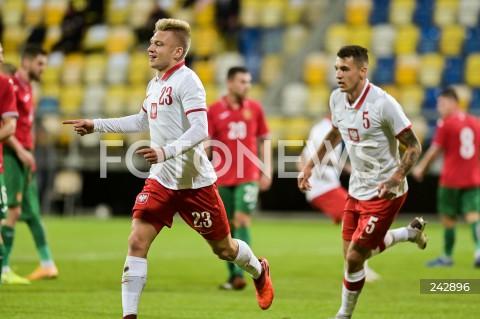 13.10.2020 GDYNIA<br />PILKA NOZNA - KWALIFIKACJE DO MISTRZOSTW EUROPY U-21<br />POLSKA - BULGARIA<br />Football - U-21 European Championships 2021 Qualifiers<br />Poland - Bulgaria<br />N/Z BARTOSZ BIDA BRAMKA RADOSC GOL NA 1:1 JAKUB KIWIOR<br />
