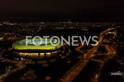30.11.2020 GDANSK<br />PILKA NOZNA - PKO EKSTRAKLASA SEZON 2020/2021<br />MECZ LECHIA GDANSK - LECH POZNAN<br />N/Z STADION ENERGA Z LOTU DRON ZDJECIE Z DRONA<br />