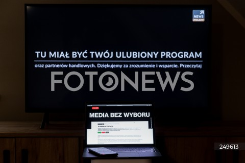 10.02.2021 RZESZOW <br />PROTEST MEDIOW W POLSCE PRZECIW PODATKOWI OD REKLAM PT. MEDIA BEZ WYBORU <br /><br />Poland's main private TV channels and radio stations went off air and newspapers blacked out their front pages on Wednesday to protest against a proposed advertising tax for non-state outlets.<br /><br />N/Z CZARNY EKRAN PORTALU INTERNETOWEGO I STACJI TELEIWZYJNEJ<br />