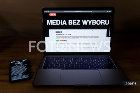 10.02.2021 RZESZOW <br />PROTEST MEDIOW W POLSCE PRZECIW PODATKOWI OD REKLAM PT. MEDIA BEZ WYBORU <br /><br />Poland's main private TV channels and radio stations went off air and newspapers blacked out their front pages on Wednesday to protest against a proposed advertising tax for non-state outlets.<br /><br />N/Z CZARNY EKRAN STACJI TELEWIZYJNEJ<br />