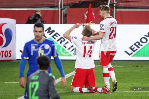 28.03.2021 WARSZAWA ( POLAND ) <br />PILKA NOZNA - ELIMINACJE DO MISTRZOSTW SWIATA 2022<br />FOOTBALL FIFA WORLD CUP 2022 QUALIFYING ROUND <br />MECZ POLSKA ( POLAND ) - ANDORA ( ANDORA ) <br />N/Z KAROL SWIDERSKI RADOSC BRAMKA GOL NA 3:0 KAMIL JOZWIAK <br />