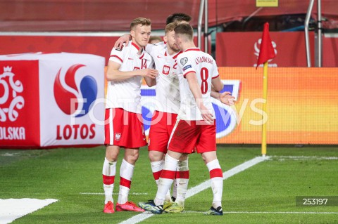 28.03.2021 WARSZAWA ( POLAND ) <br />PILKA NOZNA - ELIMINACJE DO MISTRZOSTW SWIATA 2022<br />FOOTBALL FIFA WORLD CUP 2022 QUALIFYING ROUND <br />MECZ POLSKA ( POLAND ) - ANDORA ( ANDORA ) <br />N/Z KAROL SWIDERSKI RADOSC BRAMKA GOL NA 3:0 <br />