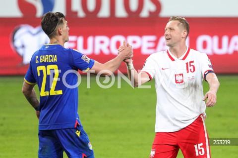 28.03.2021 WARSZAWA ( POLAND ) <br />PILKA NOZNA - ELIMINACJE DO MISTRZOSTW SWIATA 2022<br />FOOTBALL FIFA WORLD CUP 2022 QUALIFYING ROUND <br />MECZ POLSKA ( POLAND ) - ANDORA ( ANDORA ) <br />N/Z KAMIL GLIK CHRISTIAN GARCIA <br />