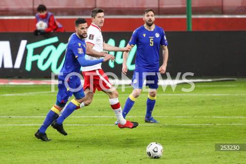 28.03.2021 WARSZAWA ( POLAND ) <br />PILKA NOZNA - ELIMINACJE DO MISTRZOSTW SWIATA 2022<br />FOOTBALL FIFA WORLD CUP 2022 QUALIFYING ROUND <br />MECZ POLSKA ( POLAND ) - ANDORA ( ANDORA ) <br />N/Z ROBERT LEWANDOWSKI MARC VALES <br />